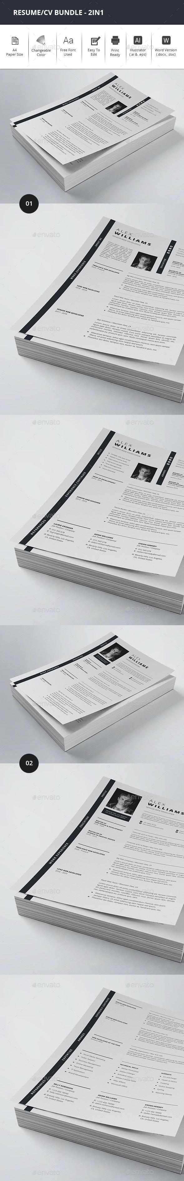 Resume/CV Bundle - 2in1 - Resumes Stationery