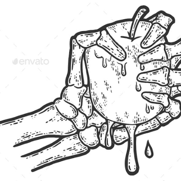 Bony Skeleton Hand Squeezing an Apple