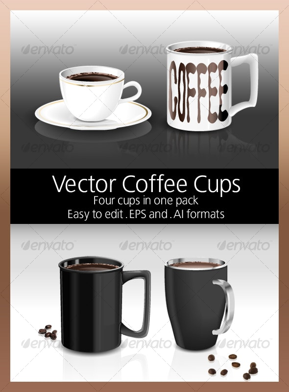 Vector Coffee Cups - Man-made Objects Objects