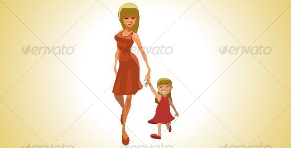 Mom with Child - Characters Vectors