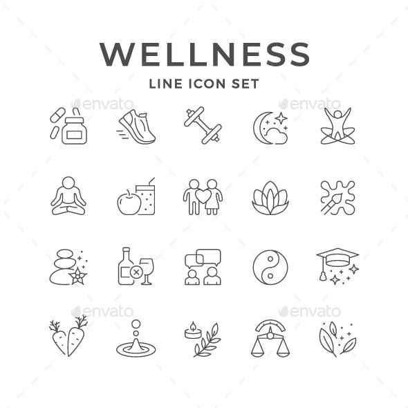 Set Line Icons of Wellness - Man-made objects Objects
