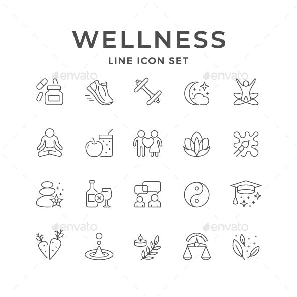 Set Line Icons of Wellness