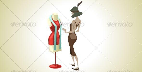 Woman admiring a Dress - Characters Vectors