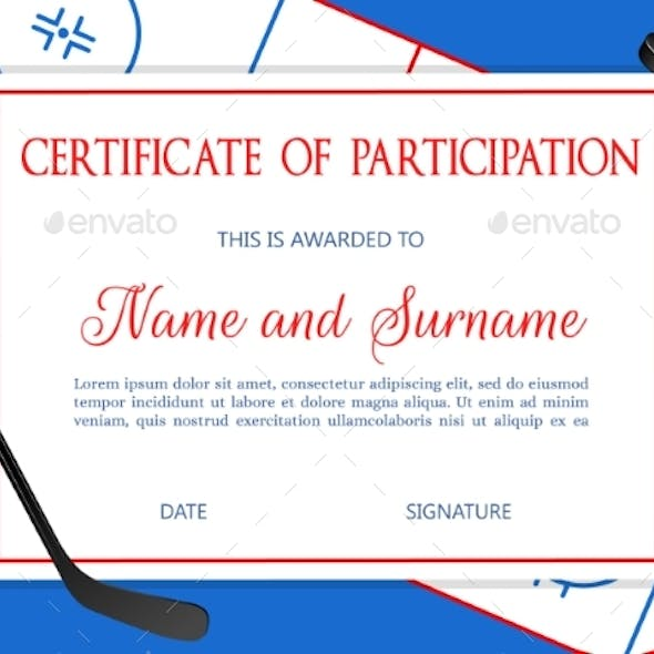Certificate of Participation in Hockey Competition