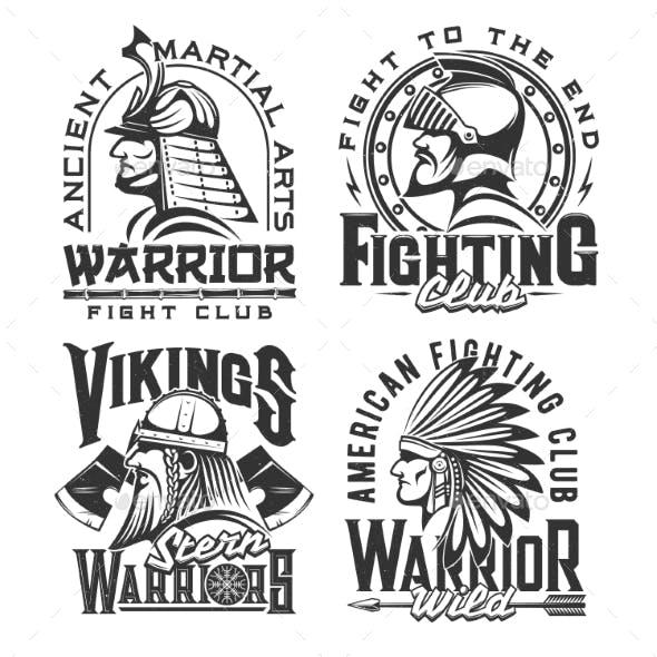 Tshirt Print with Ancient Warriors Vector Mascots