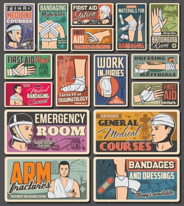 Bandage Emergency Aid Medicine Retro Banners - Health/Medicine Conceptual