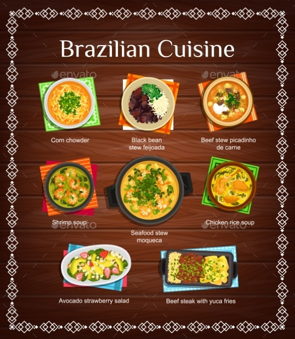 Brazilian Cuisine Vector Menu with Meals of Brazil - Food Objects