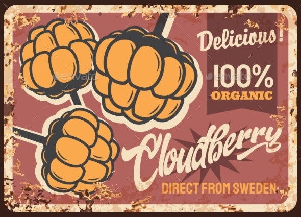 Cloudberry Rusty Metal Plate Vector Vintage Card - Food Objects