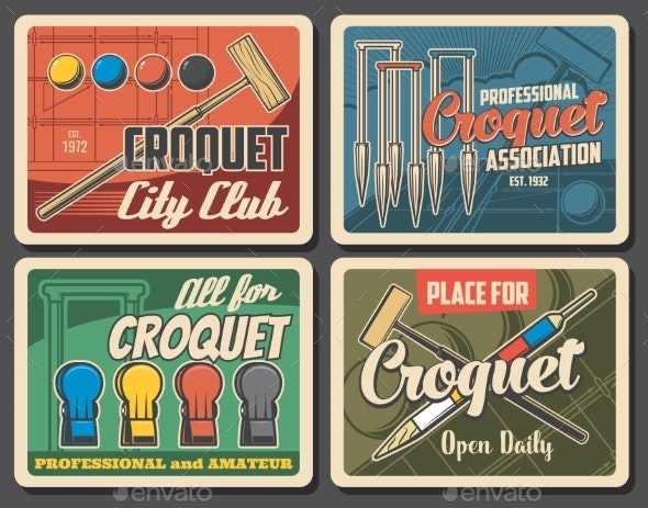 Croquet Game Sport Club Vector Retro Posters - Sports/Activity Conceptual