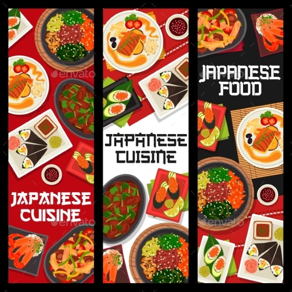 Japanese Cuisine Vector Banners Food of Japan - Food Objects