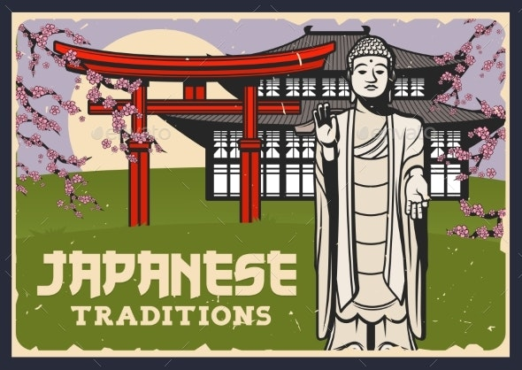 Japan Culture Religion Tourist Attractions Banner - Travel Conceptual