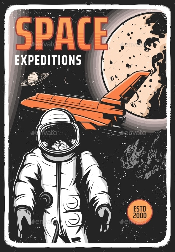 Space Expedition Retro Vector Poster Astronaut - Technology Conceptual