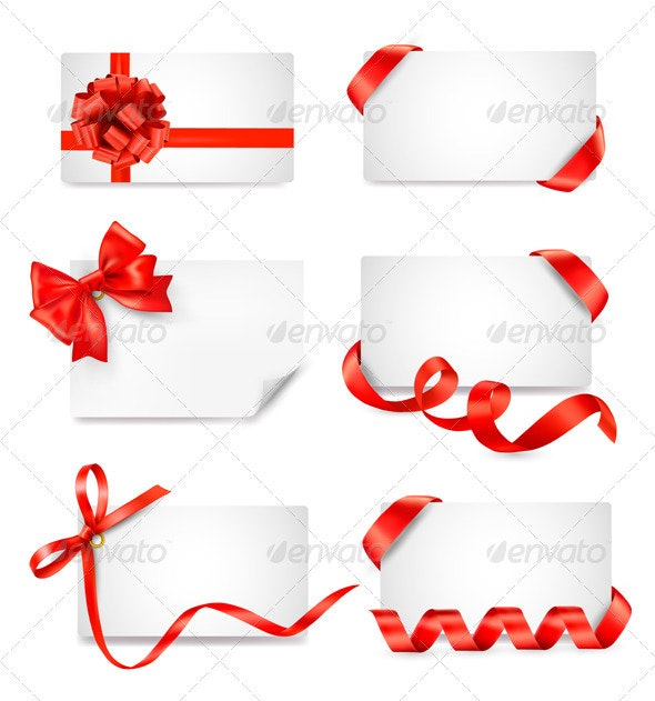Set of card notes with red gift bows with ribbons - Decorative Symbols Decorative