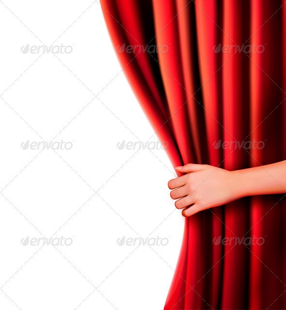 Background with red velvet curtain  Vector illustr - Concepts Business