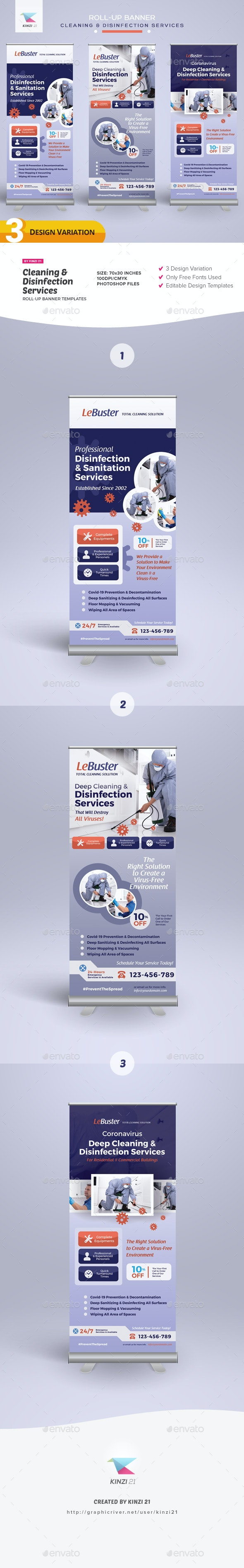 Cleaning & Disinfection Services Roll-up Banner Templates - Signage Print Templates