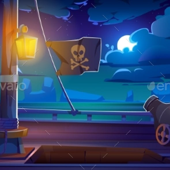 Pirate Ship Wooden Deck Onboard Night View Vector