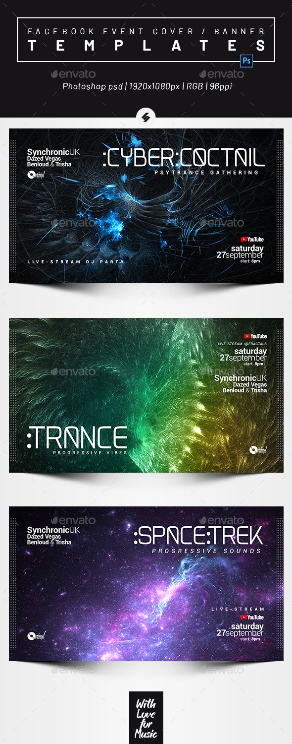 Electronic Music vol.41 – Facebook Event Cover / Banner Templates - Social Media Web Elements