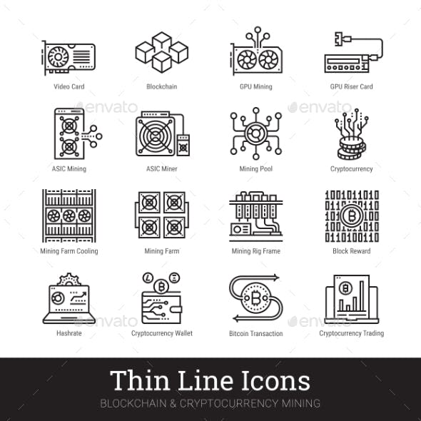Mining Cryptocurrency Blockchain Vector Icons