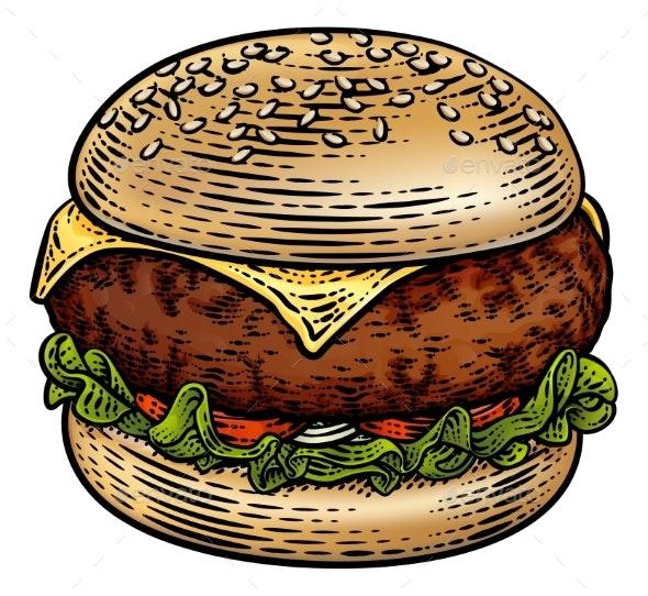 Burger Hamburger Vintage Woodcut Illustration - Food Objects