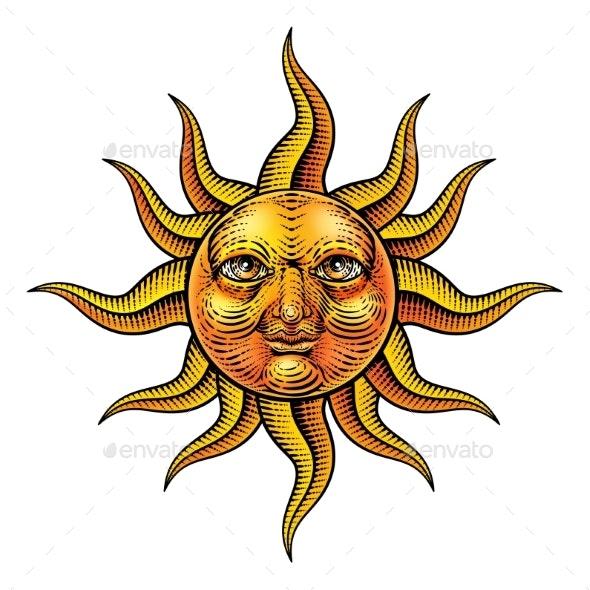 Sun Face Woodcut Drawing Retro Vintage Engraving - Miscellaneous Vectors