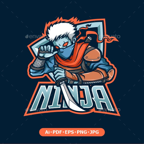 Ninja Mascot logo for eSport and sport