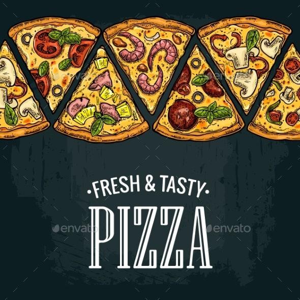 Horizontal Poster Slice Pizza Pepperoni Hawaiian - Food Objects