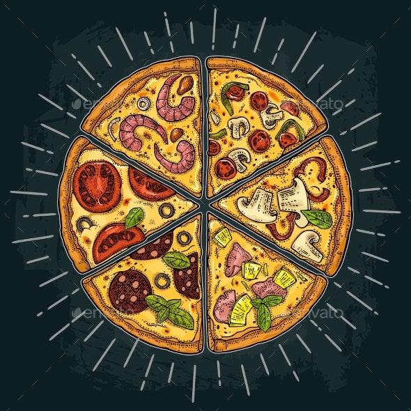 Slice Pizza Pepperoni Hawaiian Margherita - Food Objects