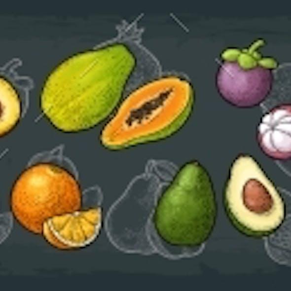 Set Tropical Fruits