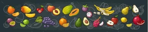 Set Tropical Fruits - Food Objects