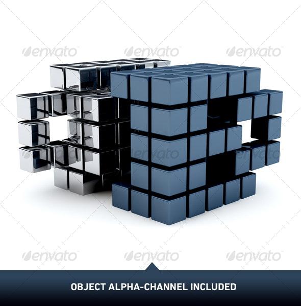 Metal Cubes 02 - Objects 3D Renders