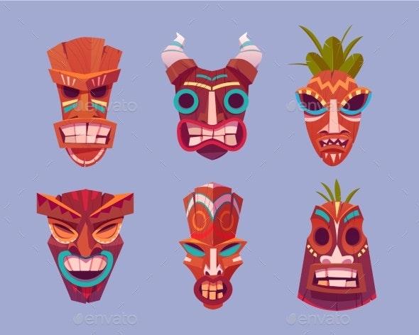Tiki Masks Hawaiian Tribal Totem of God Faces - Objects Vectors