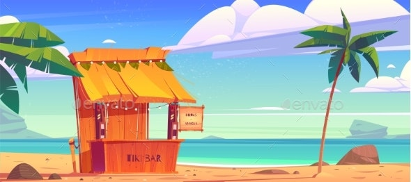 Tiki Bar with Tribal Masks on Summer Beach - Buildings Objects