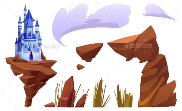 Fantasy Blue Castle and Landscape Elements - Buildings Objects