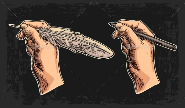 Female Hand Holding a Goose Feather and Pencil - Retro Technology