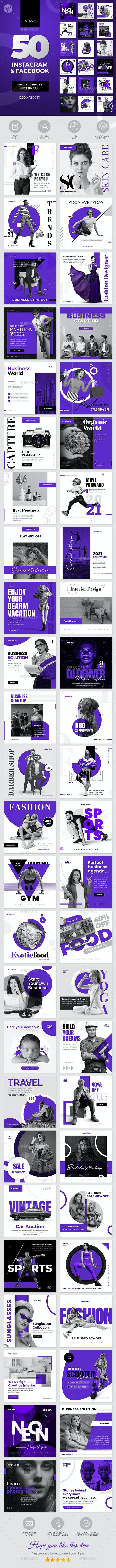 50-Instagram & Facebook Banners - Social Media Web Elements