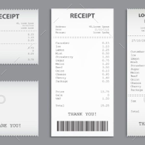 Cash Receipt on Clipboard Paper Bill Invoice Set