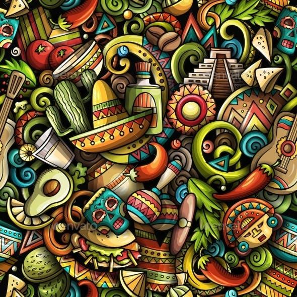 Cartoon Doodles Mexico Seamless Pattern