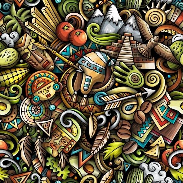 Cartoon Doodles Peru Seamless Pattern