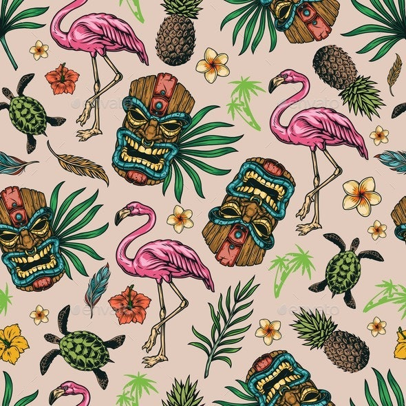 Tropical Colorful Seamless Pattern - Nature Conceptual