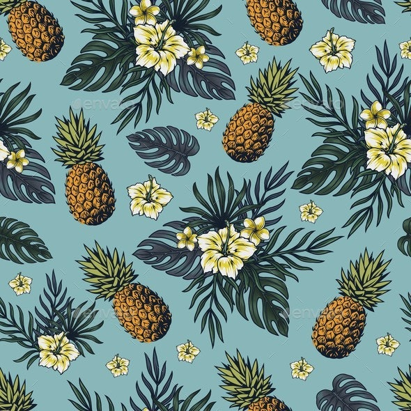 Tropical Colorful Vintage Seamless Pattern - Nature Conceptual