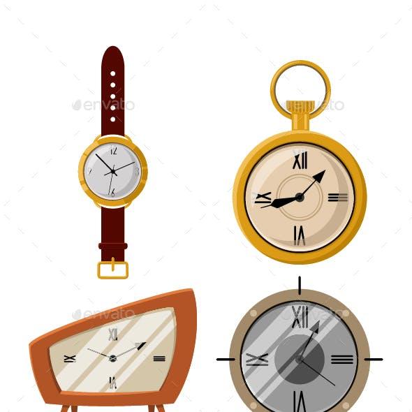 Old Vintage Pocket Watch And Clock Vector Cartoon Icon Set.