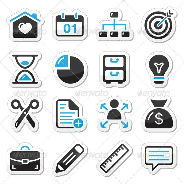 Internet, web icons as labels