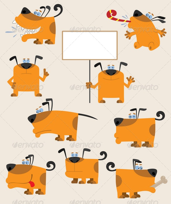 Funny cartoon yellow dogs - Animals Characters