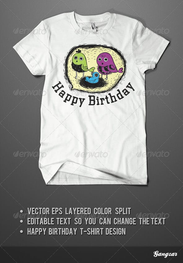 Happy Birthday T Shirt Design