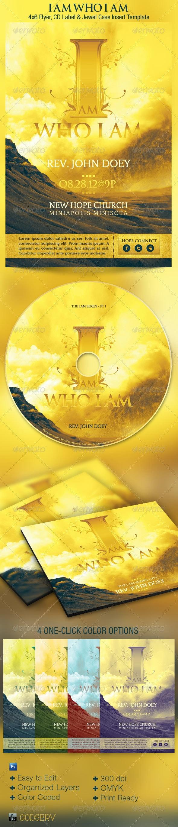 I Am Who I Am Church Flyer CD Template - Church Flyers