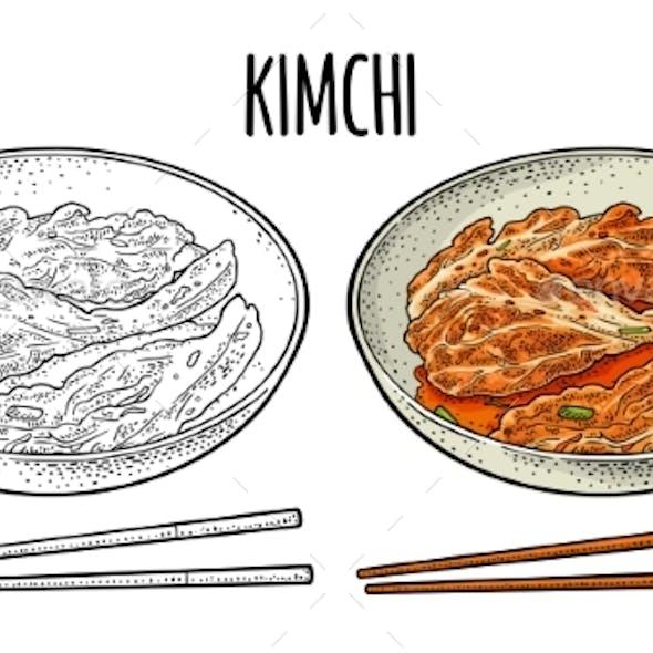 Korean Food Kimchi on Plate with Chopsticks