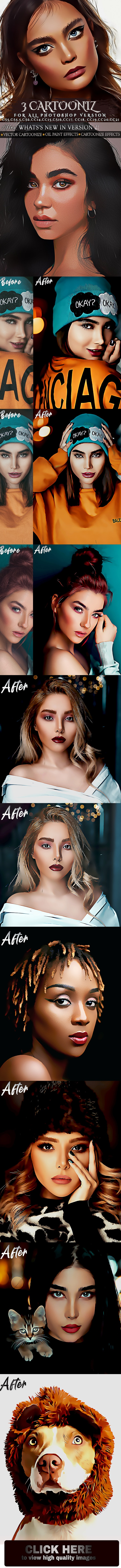 Vector Cartoon painting Photoshop Action - Photo Effects Actions