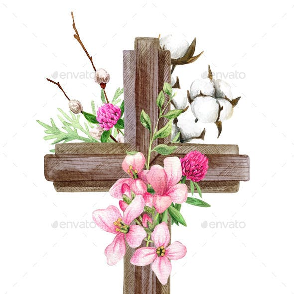 Easter Christian Cross with Flowers Willow and