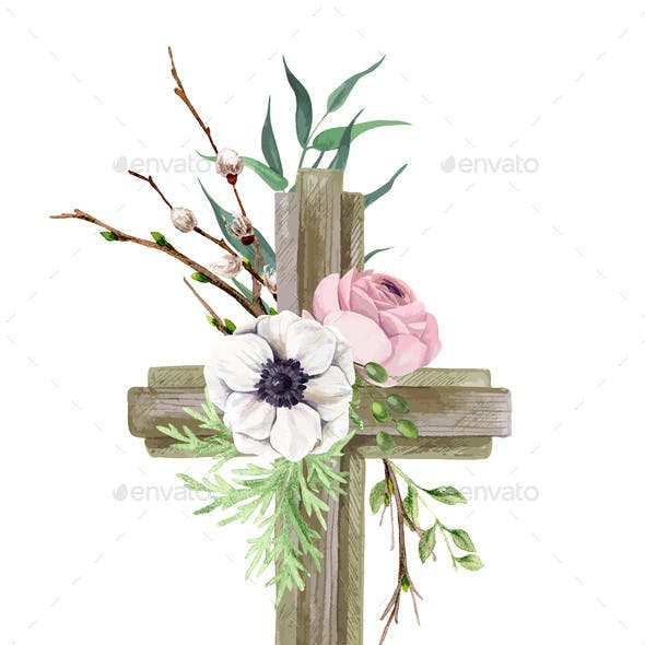 Easter Cross with Floral Elements Easter Decor