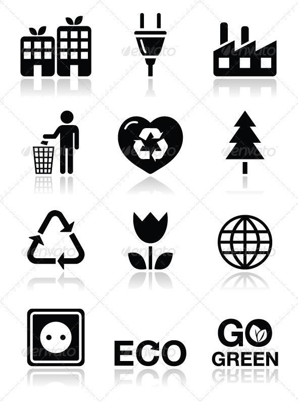 Green ecology icons set - Web Elements Vectors